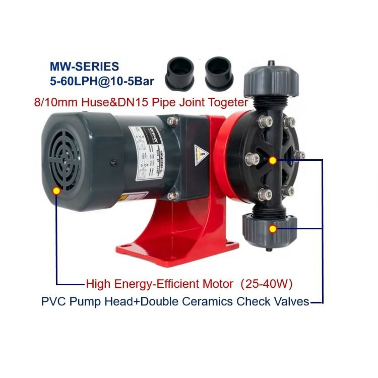 HEPHIS 5-180LPH@5-10Bar Non-return Valve Dosing Mechanical Diaphragm Metering Pumps For Adding Acid Alkali And Chemicals