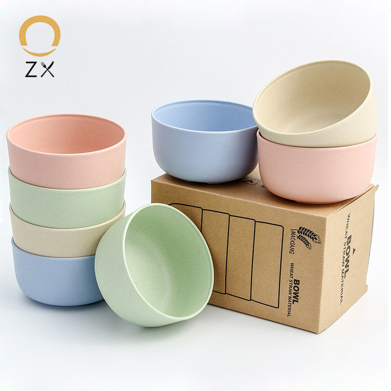 Salad Soup Baby Noodle Rice Feeding Food Serving Wheat Straw Colorful Eco Plastic Bowl