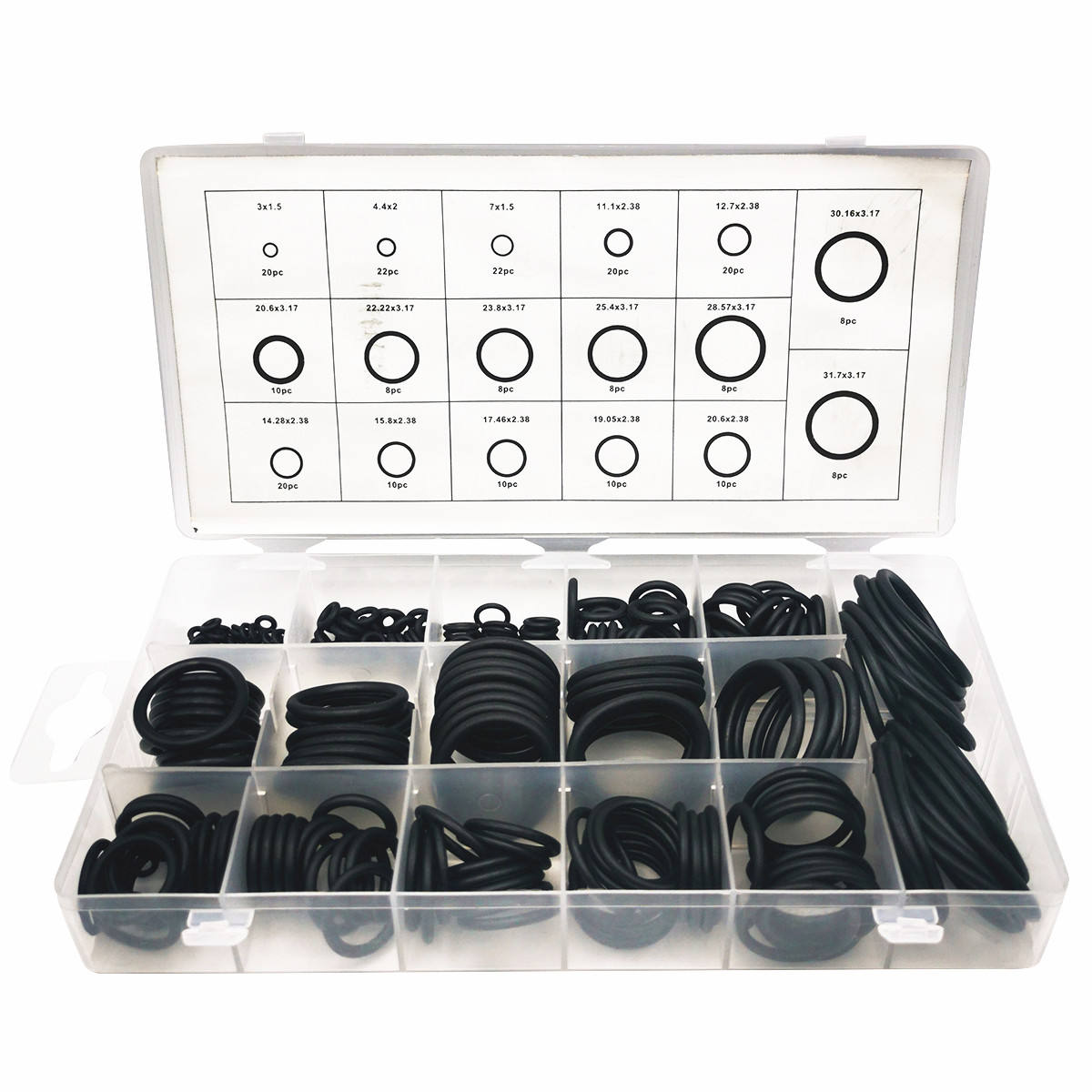 222pc Auto and Hydraulic Clear Plastic Box o-ring kit Assortment Black Seal NBR Rubber O Rings