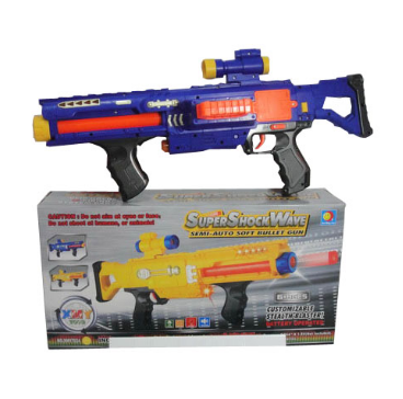 Hot Sale Kids Super Shock Wave Electric Soft Bullet Gun Toy with Sound and Light