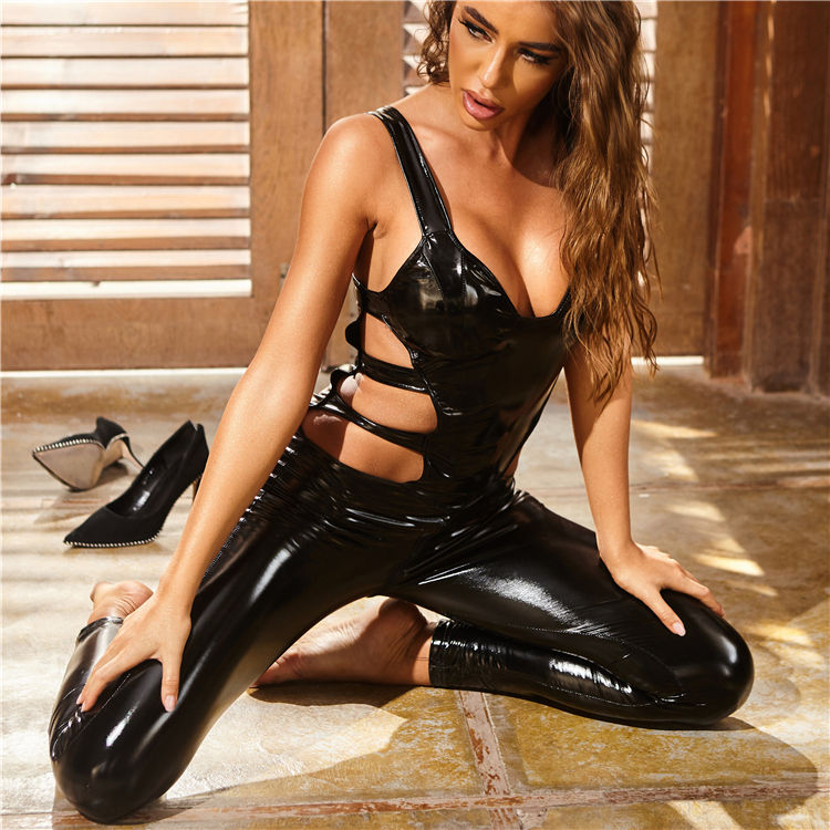 Reife Frauen Latex Shiny Patent Leder Overall Sexy Reife Rohr Dessous