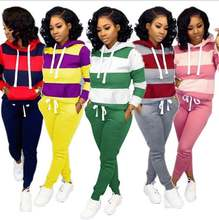 Fall Fashion Hot Sale Smart patchwork two piece set bulk casual hoodies sweatshirt and trousers LN-YM6005