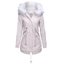 2019 New Arrivals Wholesale Fashion Womens Winter Long Coats Faux Fur Lining Outwear Jacket with Hood