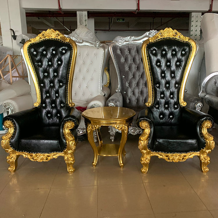 cheap modern hot sale luxury royal king and queen high back wedding throne chair for groom and bride