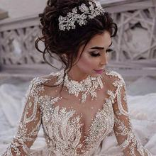 Modest Arabic Long Sleeves Lace Wedding Dresses Puffy Ball Gowns Sheer Jewel Neck Appliques Sequins Beads Wedding Bridal Gowns