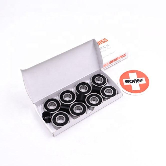 BONE SWISS Precision Reds 608 RS Black Seals 8 Balls 4 Bushings Competition Skateboard Bearing For Longboard Skateboard