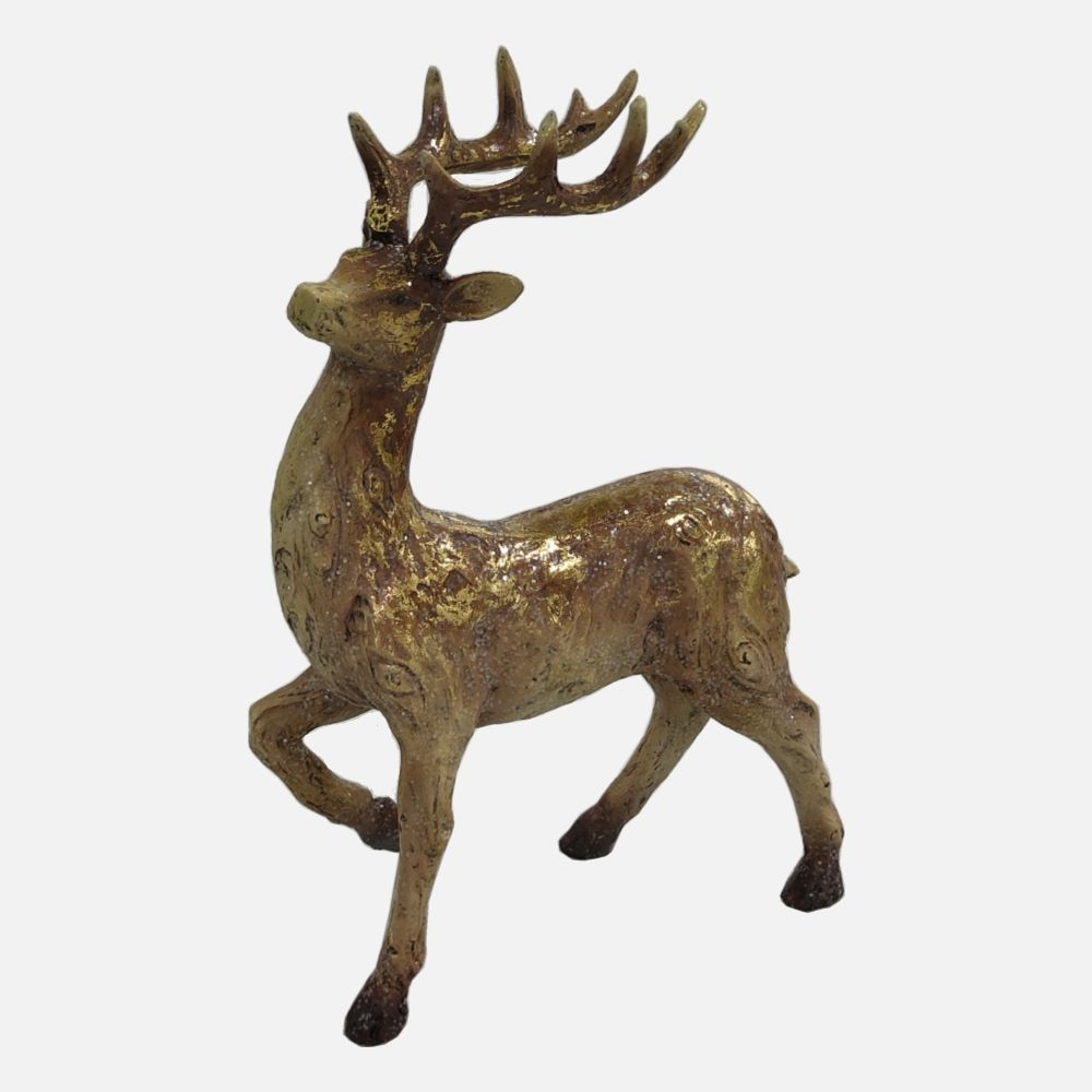 Resin Walking Gold Foiled Wood Effect Reindeer Statue with Gold Antler Polyresin Deer Sculpture Figurine Christmas Decoration