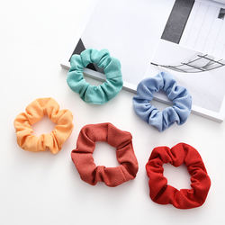 Hair Scrunchie Band Ramie Fabric Scrunchie 5PC Set Multi Colorful Hair Tie For Women