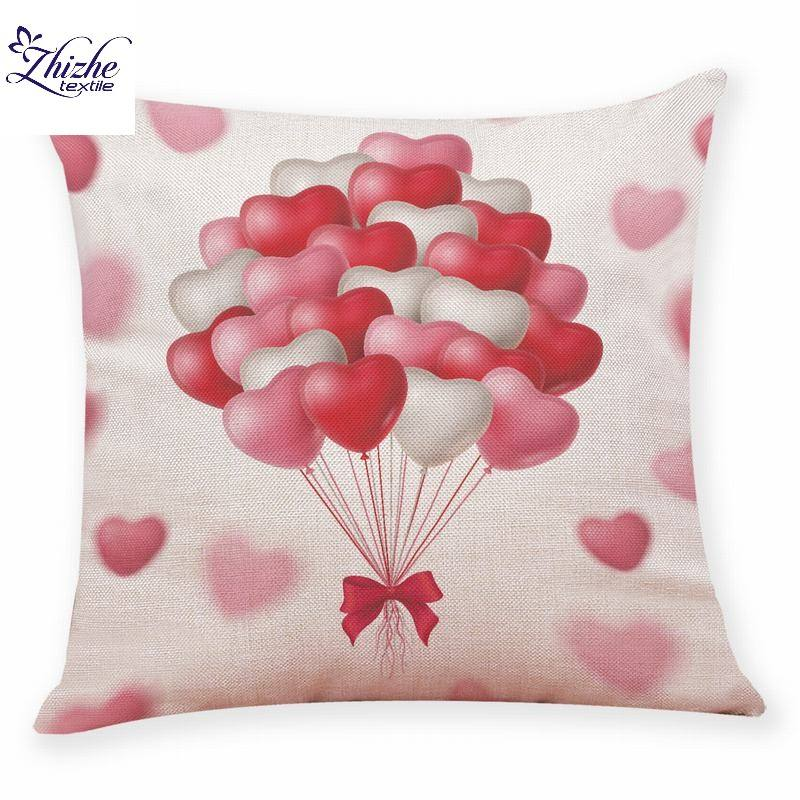 Valentine's day Theme two hearts printed linen fabric cushion cover ready to ship