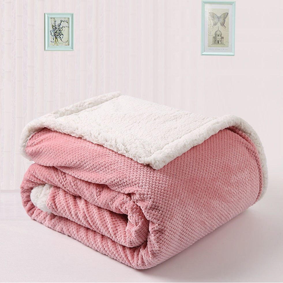 MOQ 100 ready to ship Double Layer DOBBY fleece Fabric jacqua flannel solid dyed Double faced sherpa blankets