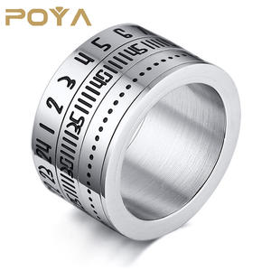 POYA Titanium Steel Arabic Digital Rotating Men's Rings Spineer Number Silver Color Ring Male Fashion Jewelry