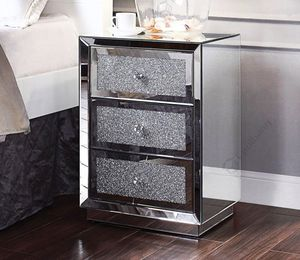 Vanity modern silver mirrored nightstand bedside table with 3 drawers