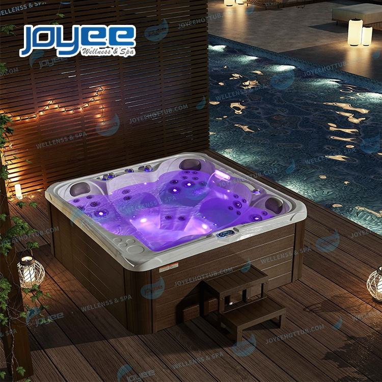 JOYEE Europe American Hot Sale BALBOA System Spa Outdoor Spa with 3 Pillows Massage Bath Outdoor Garden