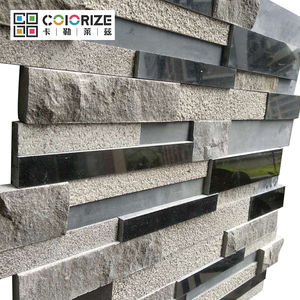 Culture stone black mix grey granite cladding panels wall tiles 3D granite stone wall cladding design
