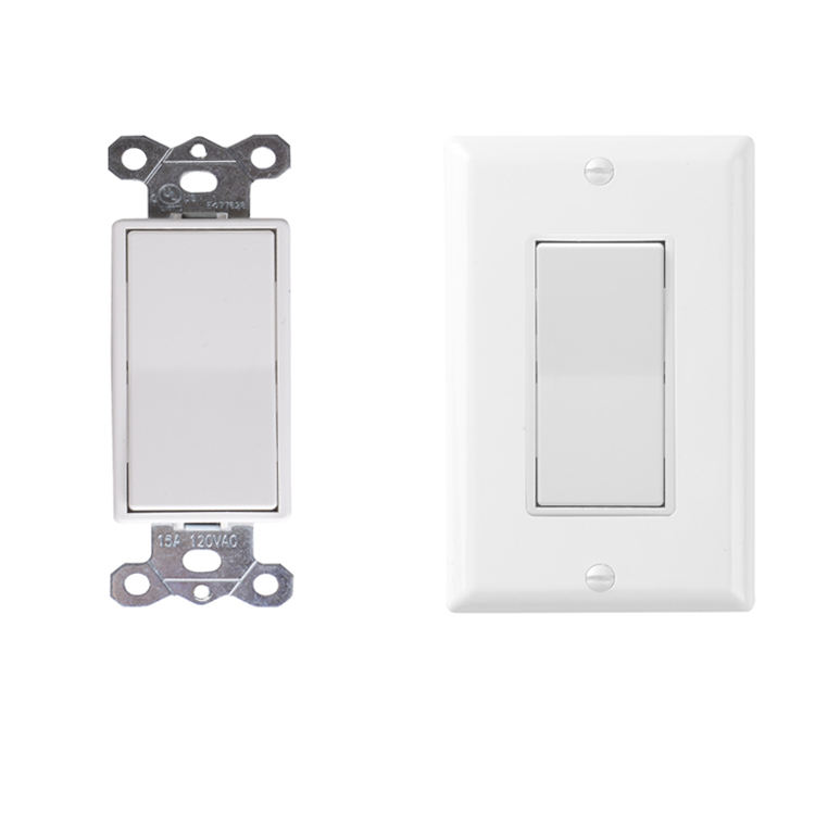 Decorator Paddle Rocker Light Switch Single Pole 3 Wire Grounding Screw Residential Grade 15A 120V UL Listed