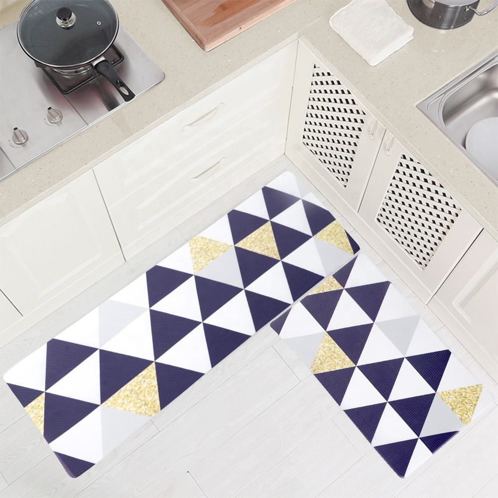 Shinnwa waterproof heat resistant anti fatigue pvc foam kitchen floor mats geometric