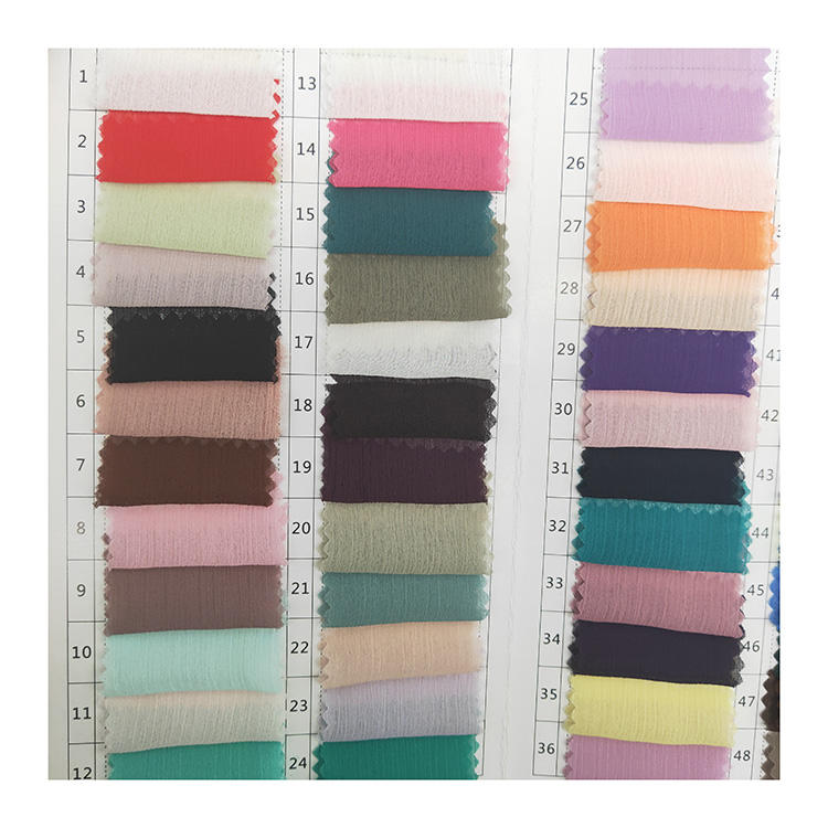 custom color polyester woven ready crepe crinkle 75d chiffon fabric for women dress