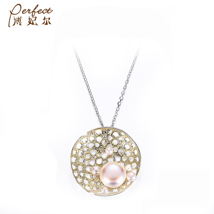 Pearl [ Gold Plated Necklace ] Necklaces Handcrafted Design Dubai Freshwater Pearl 925 Silver Gold Plated Necklace Jewelry For Girls