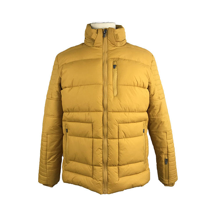 MENS QUILTED 100%NYLON MUSTARD PUFFER SPORTS TRACK JACKETS WITH WATERPROOF ZIPPERS