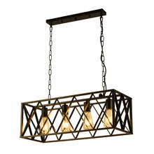Industrial Kitchen Island Lighting with 4 E26 Sockets Rectangular Vintage Pendant Light Farmhouse Hanging Ceiling Light Fixture