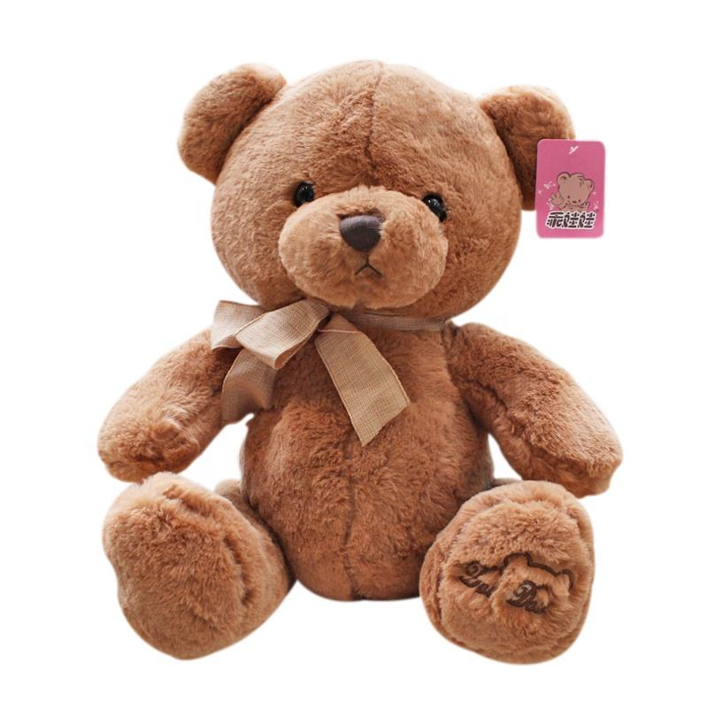 factory wholesale 25cm cute soft white brown plush teddy bear toys plush stuffed animal toys
