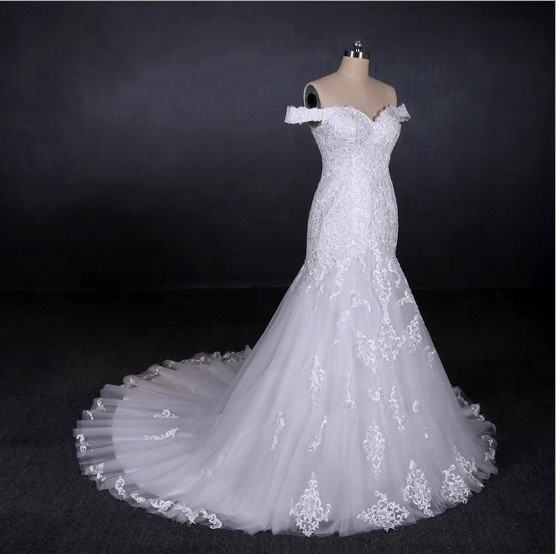 Custom made white wedding dress mermaid appliques for women china wholesale