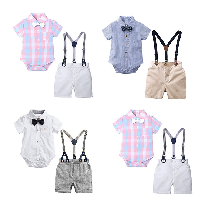 Summer toddler boys formal shirts rompers shorts clothes kids bow tie gentleman suit infant overalls baby boy clothing set
