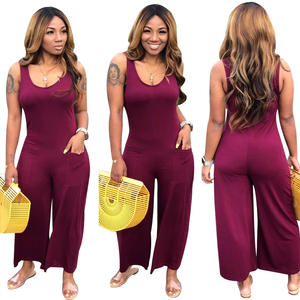 2019 Sleeveless Round Neck Solid Color Casual Loose Women One Piece Jumpsuit