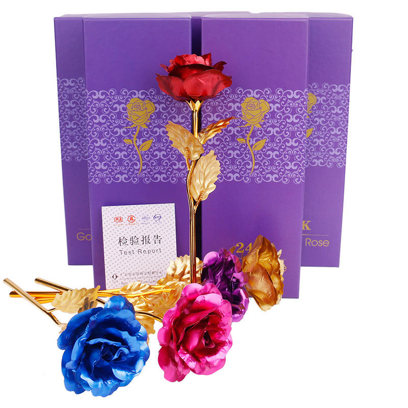 24K Gold Plated Long Stem Artificial Rose Flower Romantic ValentineのDay Lover Gift Home Ornaments