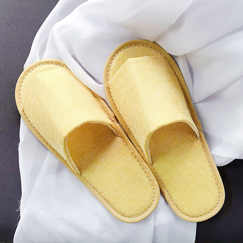 Cleap custom disposable bathroom open toe linen slippers in hotels hospital travel