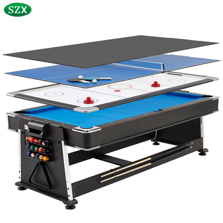 SZX 7ft hot-selling 4 in 1 Multi pool table with pool table air hockey tennis table for sales