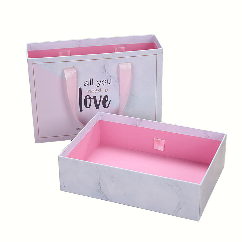 Custom luxury marble drawer packaging box with ribbon handle for hair extention match box for hair bundle