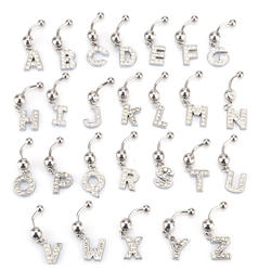 Fashion Body Jewelry Stainless Steel 26 Letter Charming Body