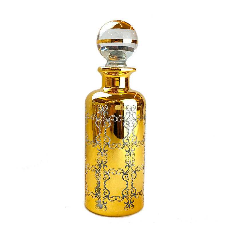 arabice 100ml handmade glass perfume bottle with gold decoration