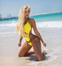 2020 European and American high quality swimsuit letters print sexy bandage beach sports one-piece swimwear