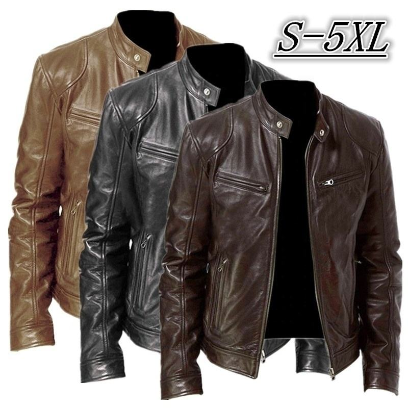 Wholesale custom men's washed PU jacket motorcycle wear cycling wear bomber jacket stand collar plus size jacket