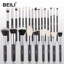 BEILI Amazon shinny Black 25 pcs make up brushes Natural goat hair brushes makeup set cosmetic foundation Powder wholesale brush