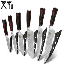 XYj Precision Craft Kitchen Knife Damascus Pattern 6pcs Copper Royalty Line 7Cr17mov Stainless Steel Knife Set Wooden