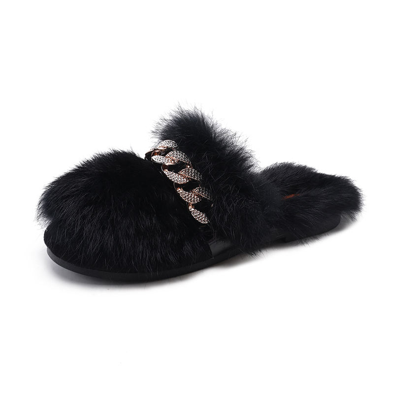 new trend fashion beautiful faux fur house flat womens slippers rhinestone slippers for women