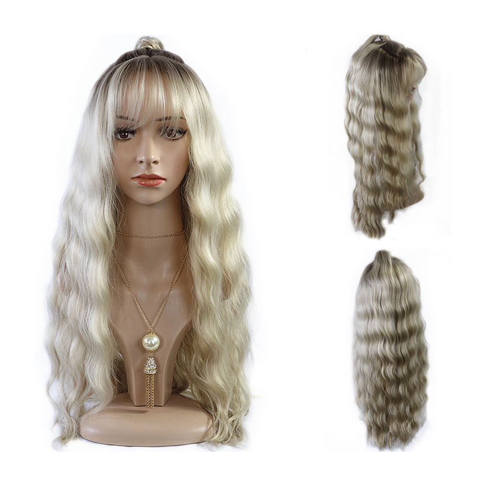 High heat resistant synthetic hollywood wave light ash blonde lace front wig with ponytail