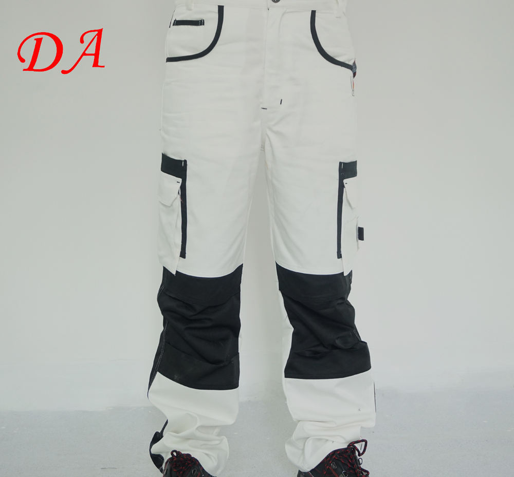 Relaxed fit twill white painter pants for men