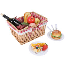 2020 New Design Portable Food Storage Outdoor Mini Picnic Willow Wicker Gift Basket With Handle