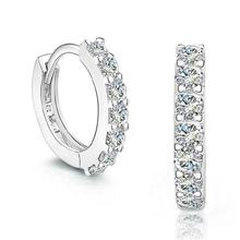 Korean micro pave cz sterling silver stamped 925 huggie earring by Moyu