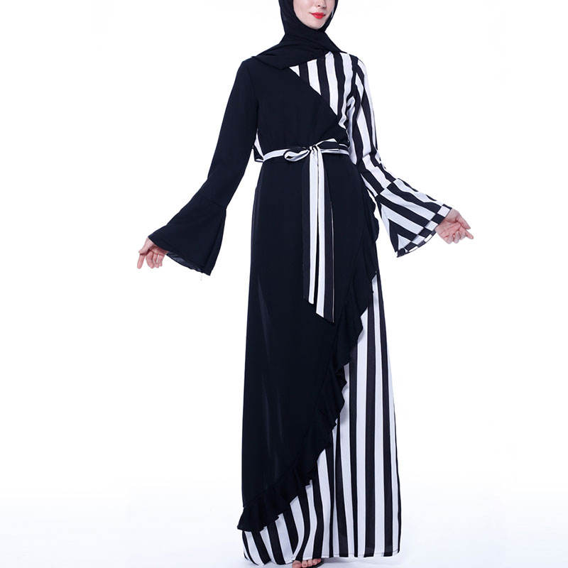 fashion fancy simple black abaya designs polyester fabric stripes abaya with new models