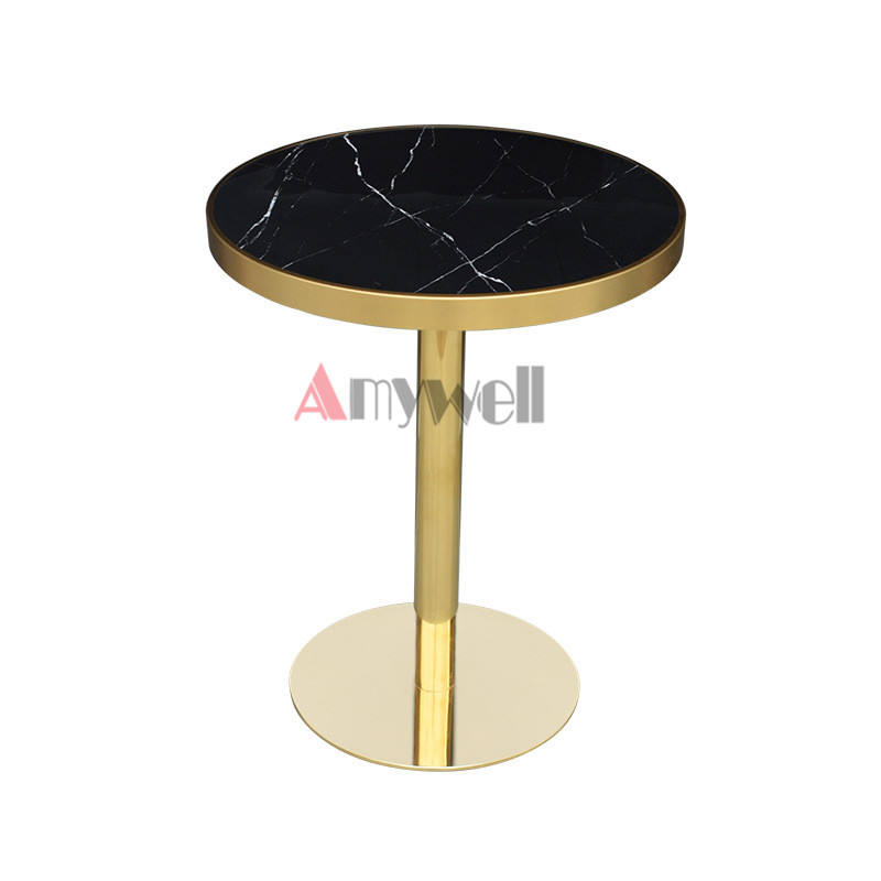 Modern restaurant gold base round black marble top dining table