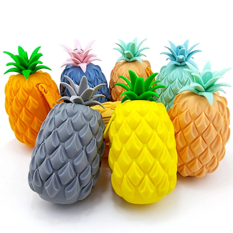 Cheap Silicone Rubber Girls Mini Wallet 3D Cute Pineapple Zipper Change Coin Purse