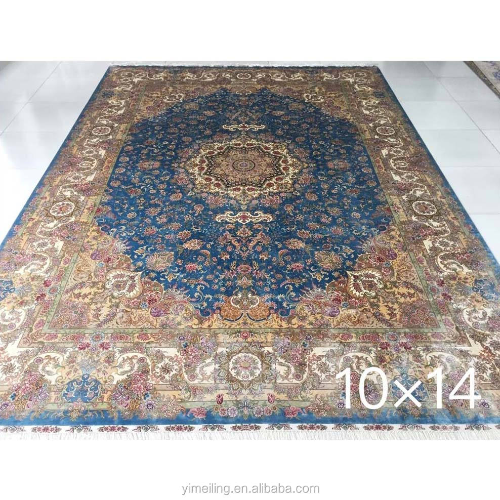 10x14 Oriental Traditional Blue Big Size Handmade Persian Pure Silk Estate Carpet for Living Room