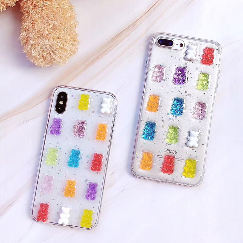 Hot Jual Crystal 3D <span class=keywords><strong>Beruang</strong></span> untuk Iphone 6 6S 7 Plus X XS XR X <span class=keywords><strong>Max</strong></span> Lucu Transparan warna Permen Glitter Soft Case