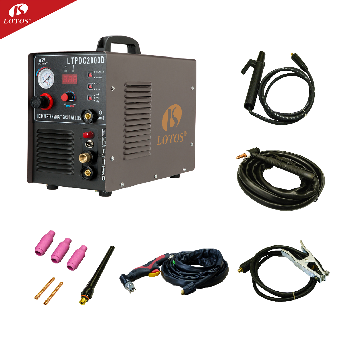 Lotos ltpdc2000d mma cut tig 3 in 1 welder plasma cutter welding machine 200 welding welders mma weld price hangzhou