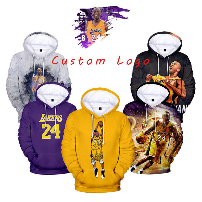 2020 Factory Custom Logo Sublimation 3D Pullover Mamba Kobe Bryant Men Kids Casual Hoodie